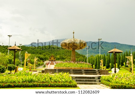 Traditional thai architecture in the Lanna style , Royal Pavilion (Ho Kum Luang) Chiang Mai, Thailand - stock photo