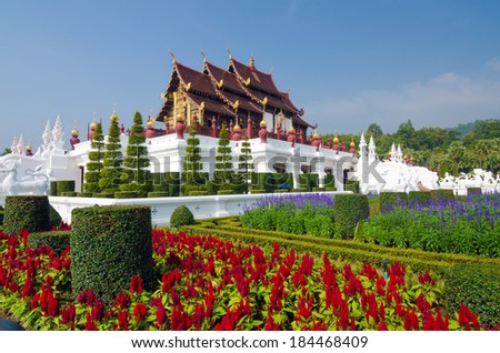 Traditional thai architecture in the Lanna style , Royal Pavilion (Ho Kum Luang), Chiang Mai, Thailand  - stock photo