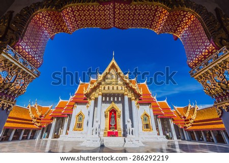 Traditional Thai architecture, Wat Benjamaborphit or Marble Temple, Bangkok - stock photo