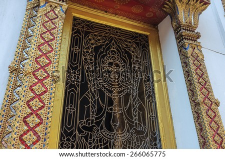traditional Thai art craft in buddhist temple for educational purpose - stock photo