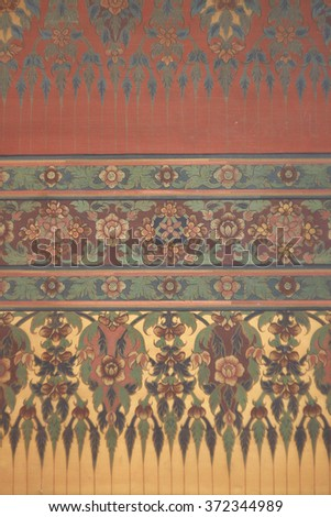 Traditional Thai art of painting on the wall of Thai temple - stock photo