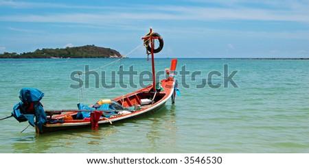 Traditional Thai boat, Koh Samui, Thailand. - stock photo