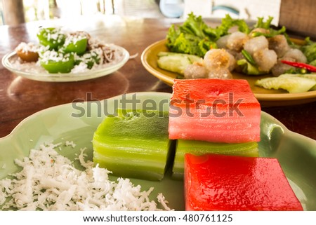 Traditional Thai dessert ,culture sweet foods,on texture wooden background.