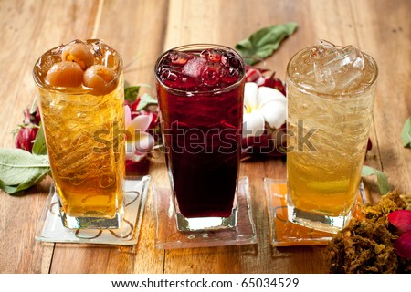traditional thai drink,fruit and herbal cold drink decorated Various herbs. - stock photo