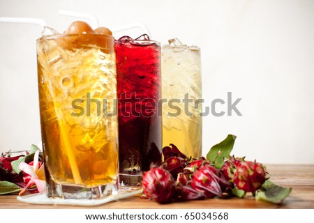 traditional thai drink,fruit and herbal cold drink decorated Various herbs.