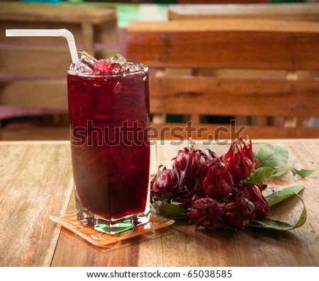 traditional thai drink,Iced roselle juice with dried Roselle flower. - stock photo