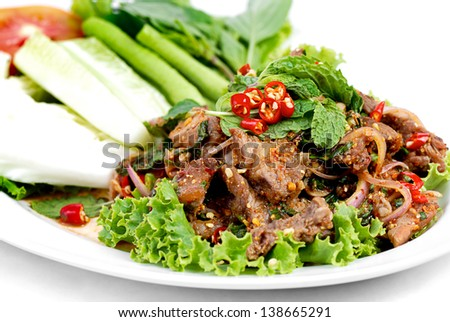 Traditional Thai Food called Beef Namtok - stock photo
