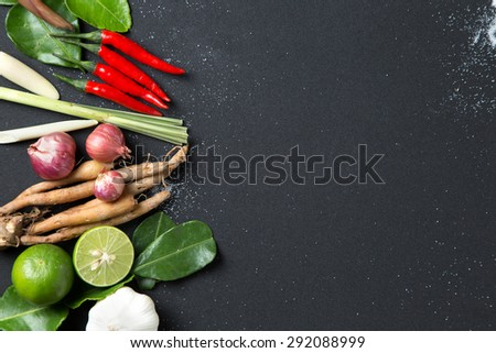 Traditional Thai food cuisine Herb ingredient of Tom Yum spicy soup  on black background - stock photo