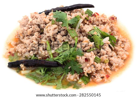 Traditional Thai food, Isolated on white. (Thai spicy minced meat salad) - stock photo