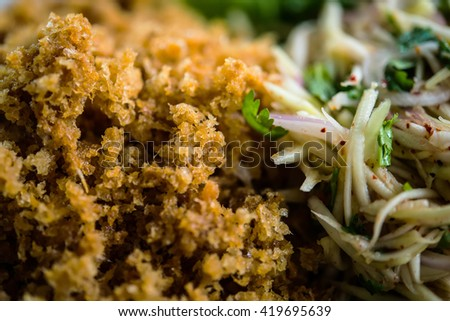 traditional Thai food,minced catfish salad, yam pla duk foo - stock photo