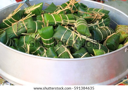 Traditional Thai food style, Glutinous rice steamed in banana leaf (Khao Tom Mat or Khao Tom Pad)