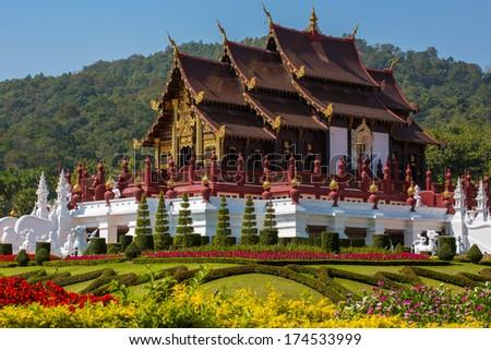 Traditional Thai Lanna style architecture. Royal Pavilion (Ho Kum Luang) at Royal Flora Ratchaphreuk, Chiang Mai, Thailand - stock photo
