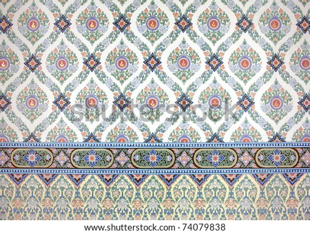 traditional thai line art painting - stock photo