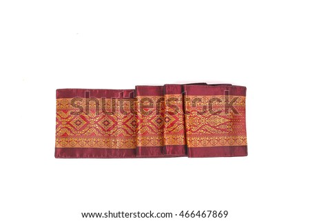 traditional thai silk fabric isolated on white background