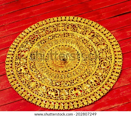 Traditional thai style art carving twelve signs,of the zodiac at the ceiling of temple - stock photo