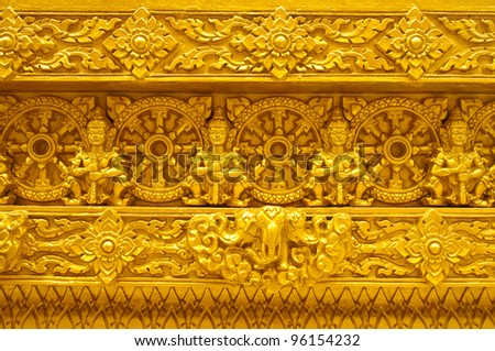 traditional Thai style art in golden temple,Thailand - stock photo