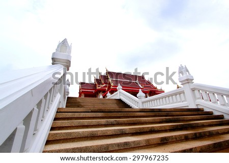 Traditional Thai style art of church in temple, Thailand - stock photo