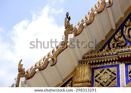 Traditional Thai style art of pattern stucco on Church in temple, Thailand - stock photo