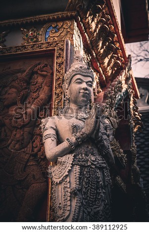 Traditional Thai style art of stucco in temple, Phrae province, Thailand