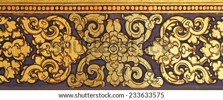 Traditional Thai style art on wall of temple - stock photo