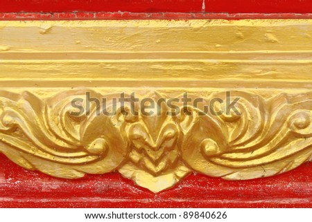 traditional Thai style art painting on temple's wall - stock photo