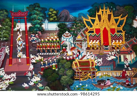 Traditional Thai style art with the story about Buddha in temple - stock photo