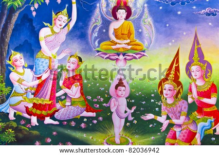 Traditional Thai style art with the story about the birth of Buddha. - stock photo