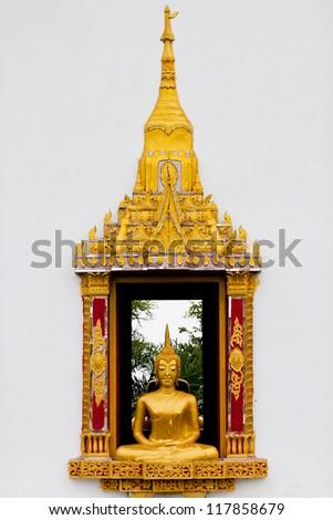 Traditional Thai style Buddhist church window - stock photo
