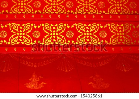 Traditional Thai style ceiling in temple, Bangkok Thailand - stock photo