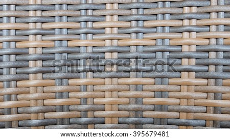 Traditional Thai Style Dark Brown and Black Handicraft Wood Rattan Weave Pattern Background Texture Surface for Furniture Material - stock photo