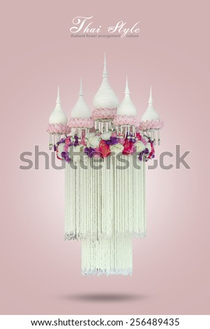 Traditional thai style flower arrangement,Malai flower,on sweet pink background with clipping path - stock photo