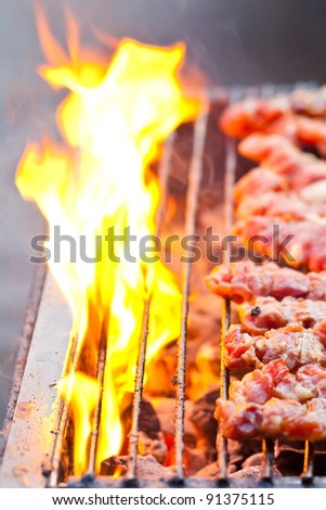 Traditional Thai style grilled pork - stock photo