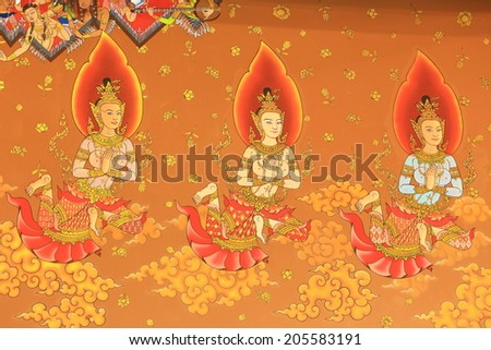 Traditional Thai style painting art on temple wall at Wat Khun-Intra Pramul, Ang Thong,Thailand - stock photo