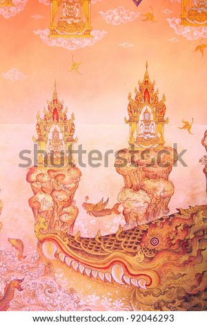 Traditional thai style painting image on the wall, Temple Thailand. - stock photo