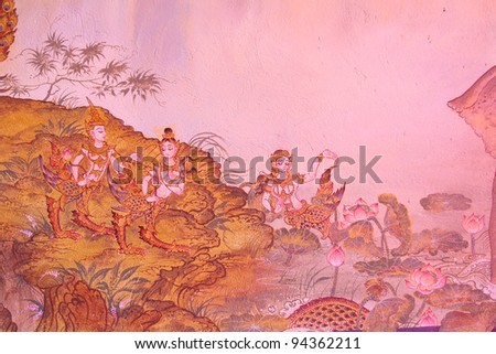 Traditional thai style painting image on the wall, Temple Thailand - stock photo