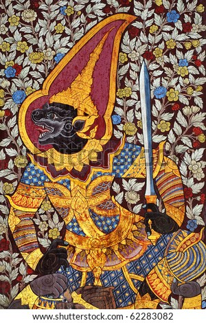 Traditional Thai style painting on the temple door.