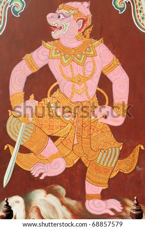 "Traditional Thai style painting  ""Ramayana"". This is traditional and generic style in Thailand. No any trademark or restrict matter in this photo. - stock photo"