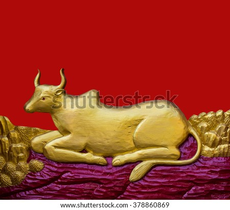 Traditional Thai style pattern decorative stucco gold paint in Buddhist temple Chiang Rai,Thailand (The Year of the Cow) - stock photo