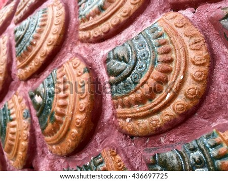Traditional Thai style pattern,public temple - stock photo