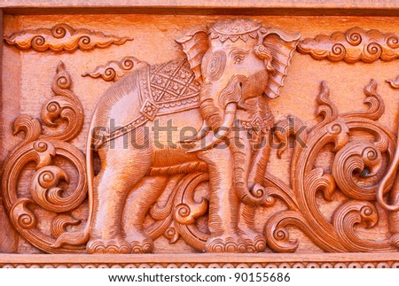 Traditional Thai style wood carving ,Generality in Thailand, any kind of art decorated in Buddhist church etc. created with money donated by people, no restrict in copy or use - stock photo