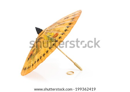 Traditional thai sunshade isolated on white - stock photo