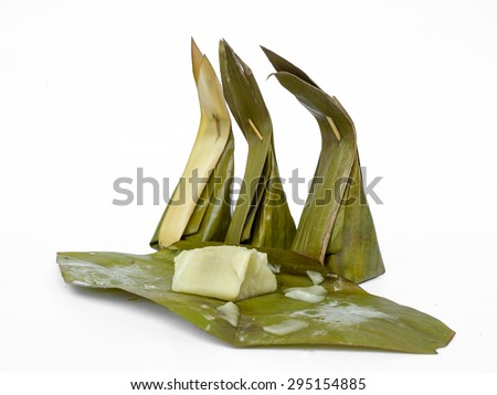 Traditional Thai sweet food, steamed rice dough with sweet coconut on white background.
