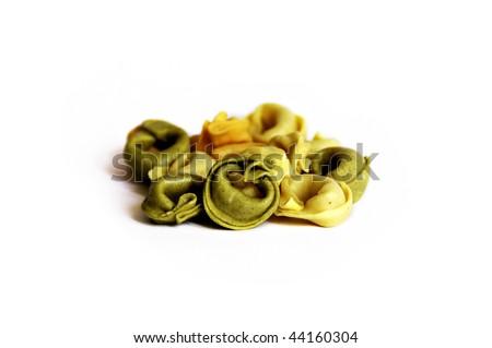 Traditional Three-Color Italian Tortellini Pasta - stock photo
