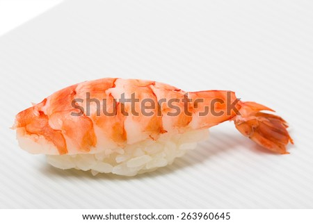 Traditional tiger shrimp nigiri sushi. Can be used as a background,. - stock photo