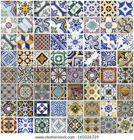Traditional tiles from facades of old houses in Porto, Portugal - stock photo