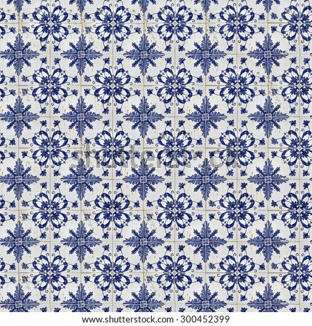 Traditional tiles on old house in Lisbon, Portugal - stock photo