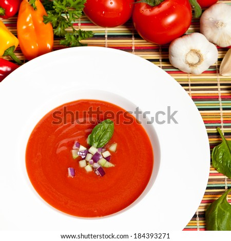 Traditional tomato soup. Gazpacho (cold summer soup).