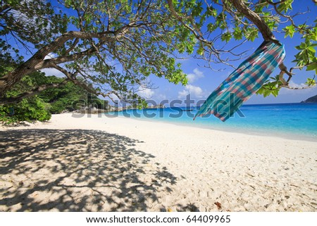 Traditional towel in the tree ,Similan beach,Phuket Thailand in clear sky day