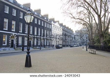Traditional town houses at Bedford Square in London, England - stock photo