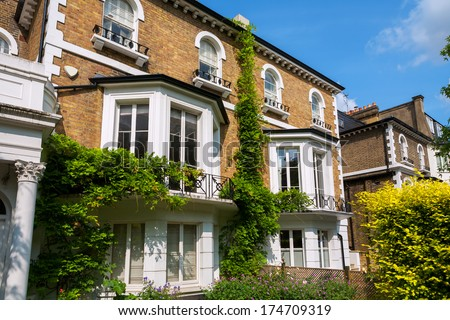 Traditional town houses at Hammersmith district in London. England - stock photo